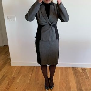 Tribal gray and black skirted business suit set.